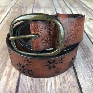 Floral Tooled leather belt